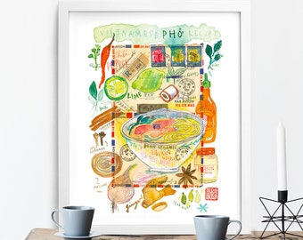Pho recipe poster, Vietnam food print, Asian kitchen art, Vietnamese restaurant wall decor, Watercolor painting, Cuisine artwork, 8X10 gift