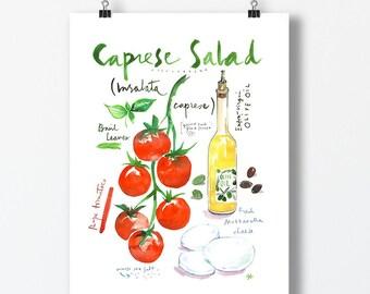 Caprese salad recipe print, Watercolor painting, Colorful kitchen wall art, Tomato poster, Italian cuisine, Food artwork, Vegetable art gift