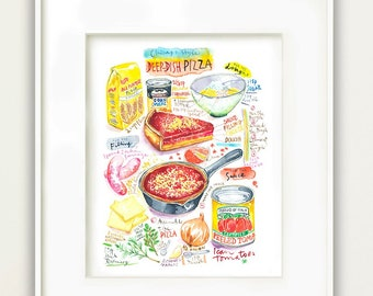 Deep-Dish Pizza recipe print, Chicago food art, Watercolor painting, Illinois kitchen decor, Colorful 8X10 poster, Foodie gift, Cook artwork