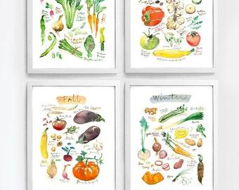 Seasonal vegetable print set, 4 seasons wall art, Watercolor painting, Colorful kitchen decor, Produce posters, Veggie art, Vegan food gift