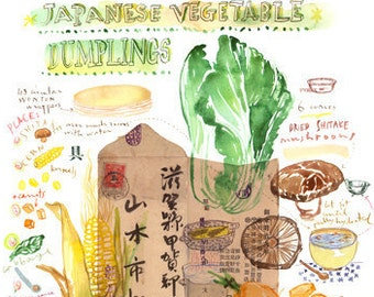 Japanese dumpling recipe print, Kitchen print, Japanese food poster, Japan cooking, Asian food art, Watercolor painting, Vegan art print
