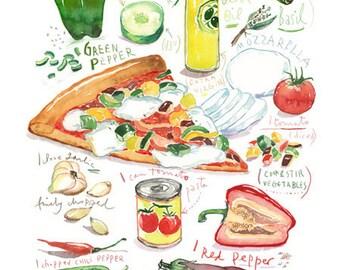 Vegetarian pizza recipe print, Food poster, Vegan pizza, Healthy vegetable pizza illustration, Italian kitchen wall art, Watercolor painting