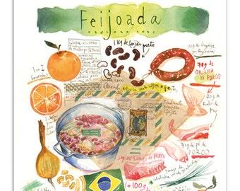 Feijoada recipe print, Brazil poster, Watercolor brazilian food print, Kitchen wall art, Cook in Brazil, South America decor, Portuguese
