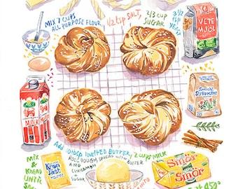 Swedish Cinnamon Bun recipe print, Sweden food poster, Scandinavian restaurant decor, Watercolor painting, Kitchen wall art, Bakery artwork