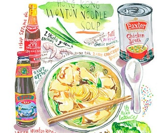 Wonton Noodle Soup recipe print, Hong Kong style cuisine, Cantonese kitchen poster, Asian wall hanging, Watercolor painting, Gouache artwork