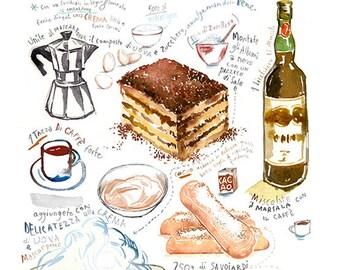 Tiramisu recipe poster, Italian food illustration print, Watercolor painting, Italy themed gift, Kitchen wall art, Italian dessert artwork