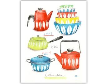 Midcentury modern watercolor print, Retro colorful kitchen wall decor, Catherineholm poster, Scandinavian design illustration, 60s art print