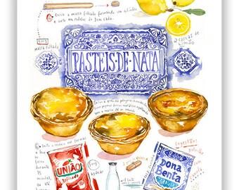 Portuguese food print, Pasteis de Nata recipe poster, Watercolor painting, Portugal wall art, Portuguese kitchen print, Food illustration