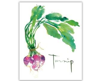 Watercolor turnip painting, Vegetable print, Green kitchen decor, Botanical art, Garden poster, Veggie art, Kitchen print, Food illustration