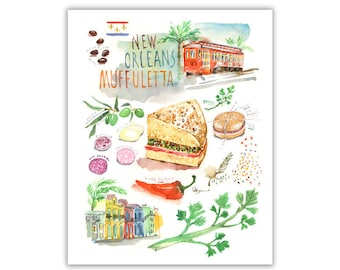 New Orleans Muffuletta illustrated recipe art print, Kitchen wall decor, Louisiana food illustration poster, Cajun gift, Watercolor painting