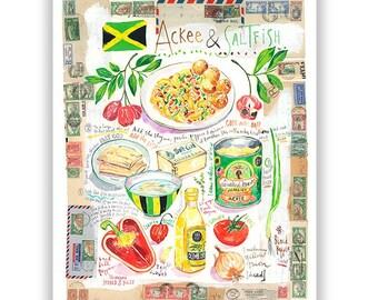 Jamaica Ackee and Saltfish recipe print, Caribbean kitchen wall art, Jamaican food poster, Watercolor painting, Cook in Jamaica Food artwork