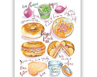 Bagel with Lox recipe print, Watercolor painting, New York wall art, Bagel illustrated poster, NYC food artwork, Colorful kitchen decor