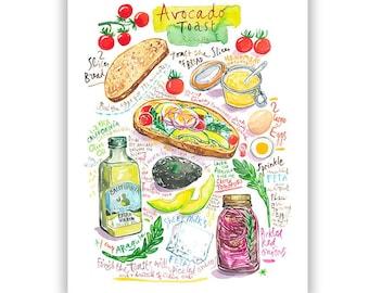 Avocado Toast recipe print, Watercolor painting, Bright dining room decor, Kitchen wall art, Avocado artwork, 8X10 food poster, Colorful art