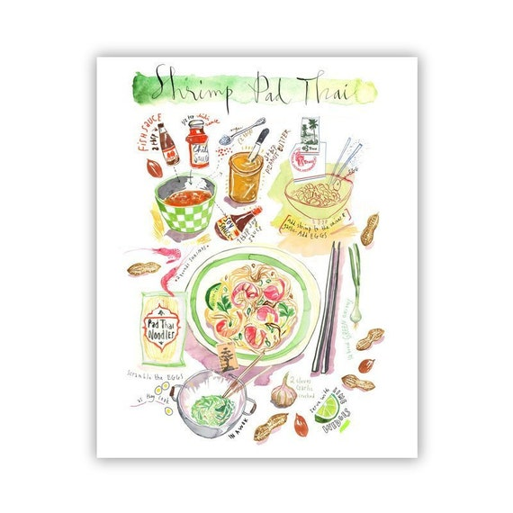 Pad Thai Recipe Poster Kitchen Print Thailand Food Art
