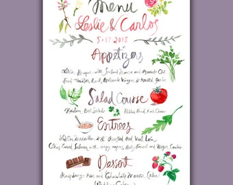 Custom Watercolor menu, Watercolor Wedding menu, Custom wedding menu, Save the date watercolor illustration, Printable Wedding invitation