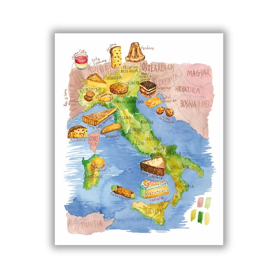 Italian Food Map Print Illustrated Map Of Italy Italian Kitchen Decor Watercolor Painting Italy Wall Art Food Artwork Italian Dessert