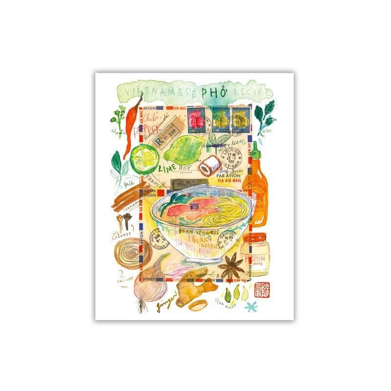 Vietnamese Pho recipe print, Asian kitchen wall art, Vietnam gift, Colorful  kitchen art, Food illustration, Watercolor painting, Pho poster