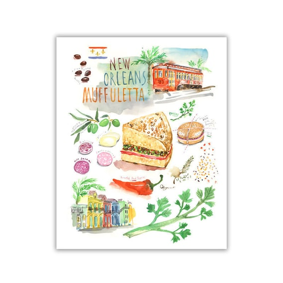 new orleans muffuletta illustrated recipe art print kitchen | etsy