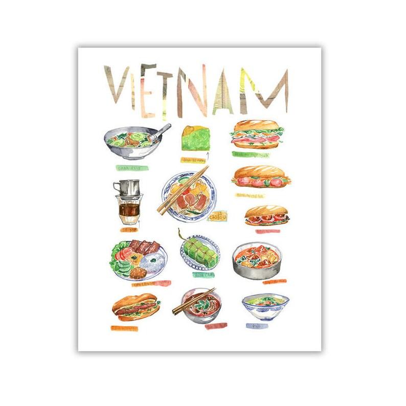 Vietnamese Food Poster Watercolor Painting Vietnam Art