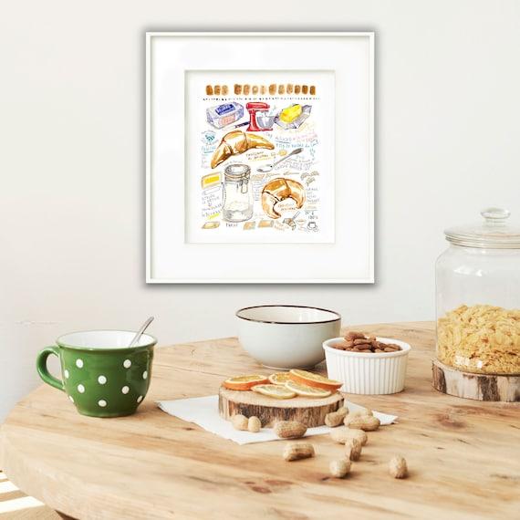 Croissant ricetta illustrazione stampa, francese cucina a muro arte, opera  d\'arte cibo francese, Illustrated ricetta poster, pittura ad acquerello, ...