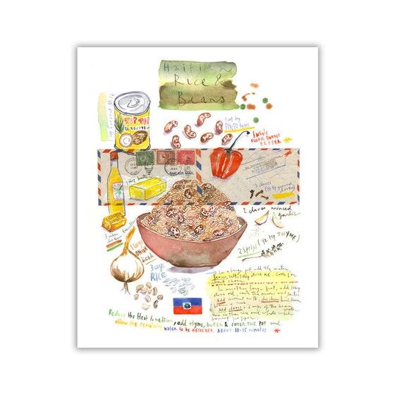 Haiti Recette Illustree Cuisine Haitienne Riz Et Haricots Etsy