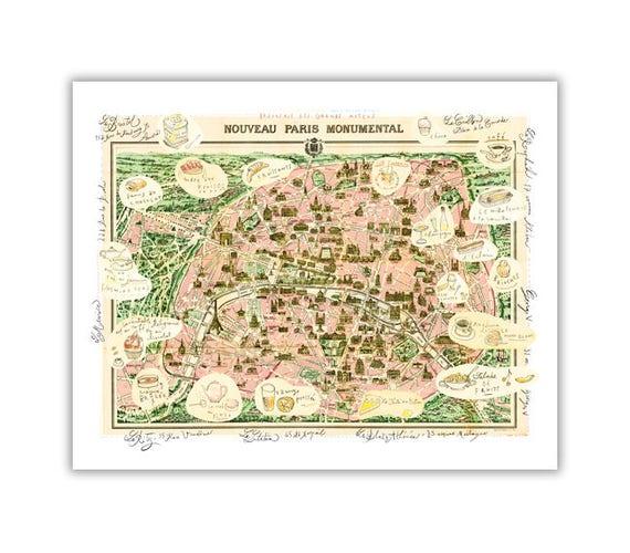 Paris Map Illustration Poster Parisian Hotels On Vintage Etsy