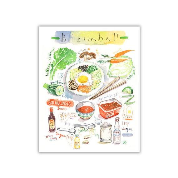 Korean food poster Bibimbap recipe art print Korean wall   Etsy