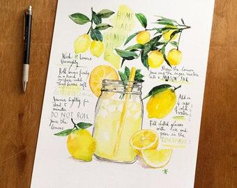 Lemonade recipe print, Bright kitchen wall art, Yellow kitchen decor, Food artwork, Watercolor painting, 8X10 Lemon illustration poster