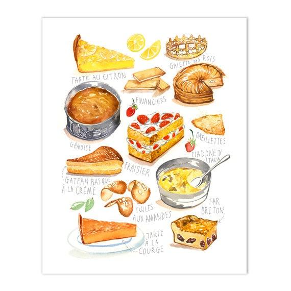Franzosische Kuche Druck Aquarell Kuchen Kunstdruck Kuche Etsy