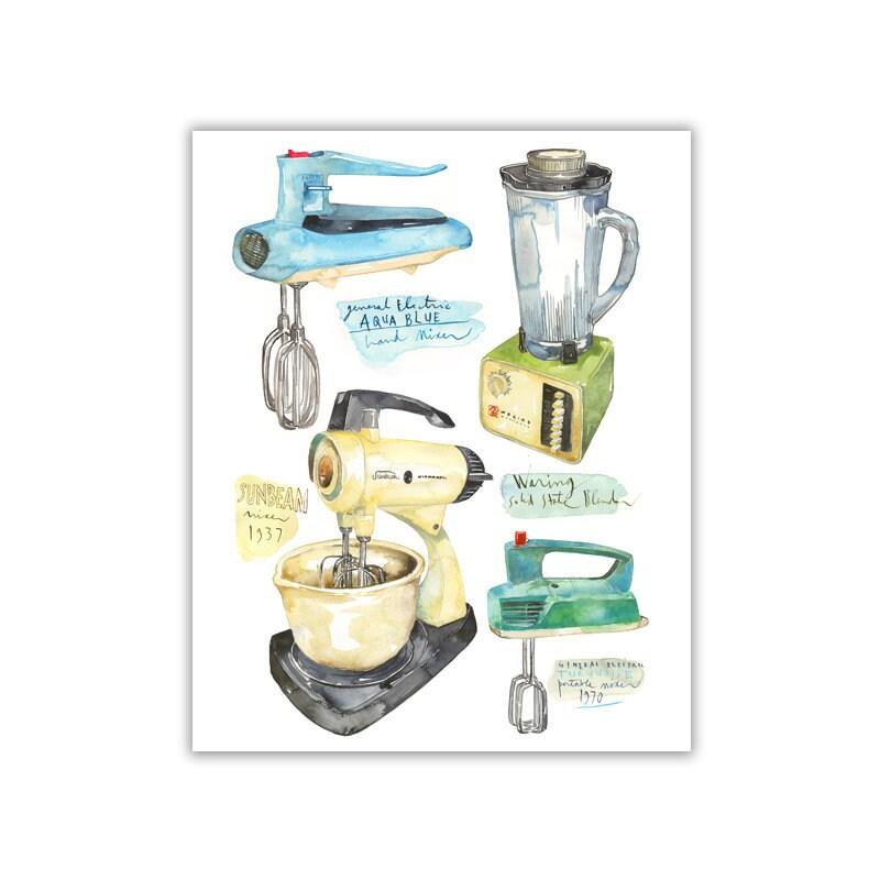 Vintage Kitchen Mixer Print Retro Kitchen Decor Midcentury