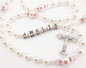Personalized Rosary Beads in White and Pink- Baptism Gift, First Communion Gift, Confirmation, Baby or Little Girl Keepsake, Mother Rosary