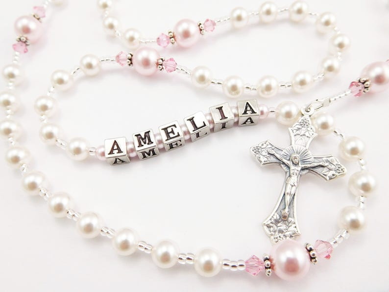 bc6162305 Personalized Rosary Beads in White and Pink Baptism Gift   Etsy