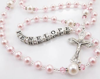 Pink and White Swarovski Pearl Personalized Baptism Rosary Beads - Baptism, First Communion, Confirmation Catholic Gift for a Girl