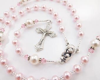 First Communion Gift for Girl - Personalized Rosary in Pink and White - Catholic Baptism, Christening, Confirmation, Quinceanera - All Ages