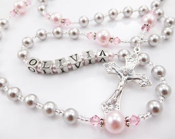 Baptism, First Communion Personalized Rosary Gift Girl - Catholic Confirmation or Quinceanera  Swarovski Crystals - Gray and Pink