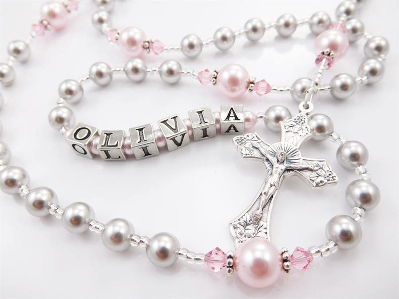Baptism First Communion Personalized Rosary Gift Girl  image 0