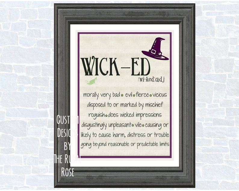 Wicked Halloween Printable  Dictionary  Adjective  Fun  Witch  Broom  Black  Cat  Definition  Cast Spells  Cauldron  Brew  Digital  Print