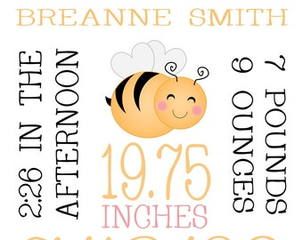 Custom Birth Print - Little Bee