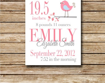 Custom Birth Print - Pink Bird - 8 x 10 Digital Print - Nursery Print - Baby Shower - Custom Birth Record