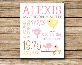 Custom Birth Print - Pink and Yellow Birds - 8 x 10 Digital Print - Nursery Print - Baby Shower - Custom Birth Record
