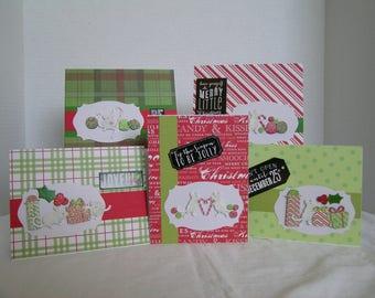 Holiday Greeting Cards, Set of 5 Holiday Cards, Christmas Card Assortment, Handmade Christmas Cards, Christmas Mouse Theme Cards