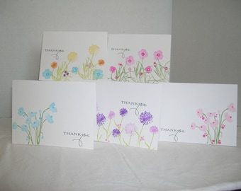 Handmade Thank you Cards, Set of 5 Thank you Assortment Cards, Thank You Cards, Wildflower Thank You Cards