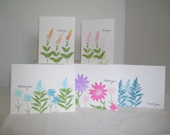 Thank You Cards, Handmand Thank You Cards, Set of 5 Thank You Assortment, Wildflower Thank You Cards