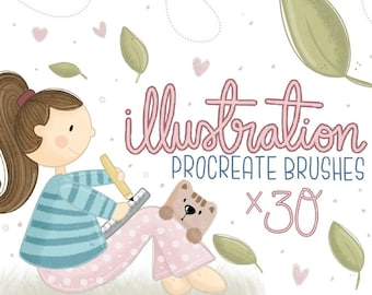 Creative Illustration Procreate Brush Set   30 Texture Brushes   How to Guide   Creative Digital Drawing Tools   Texture Shaders M011