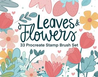 33 Leaves and Flower Procreate Stamp Brush Set   Digital Drawing Floral Stamp iPad Tool   Digital Illustration Resource M009