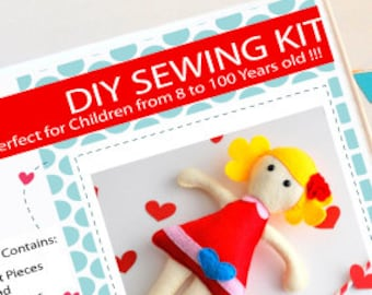 Doll Sewing Kit, Felt Kids' Crafts, Felt Sewing Kit in a Box, 8+ years old craft, No need sewing machine A819
