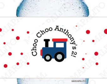 Train Water Bottle Labels, Choo Choo Train Party, 5 Personalized  Circus Party Birthday Party Labels  A1285