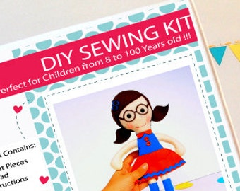 Doll Sewing Kit, Felt Kids' Crafts, Felt Sewing Kit in a Box, 8+ years old craft, No need sewing machine A826