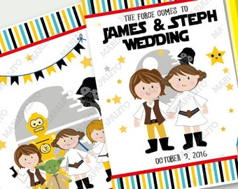 6 Star Wars Wedding Coloring Books, Children's Activity Booklet , Personalized Party Favors, Bride Groom Coloring Book  A1293