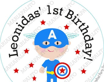Captain America Stickers, SuperHero Party Personalized PRINTED round Stickers, tags, Captain America Labels or Envelope Seals, A1280